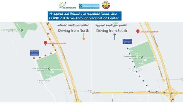 How to reach drive-through vaccine centre in Lusail