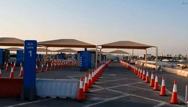 A view of the new Covid-19 Drive-Through Vaccination Centre in Lusail.