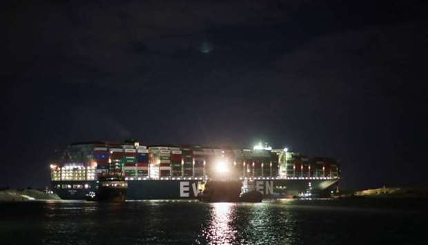A view shows the stranded container ship Ever Given, one of the world's largest container ships, aft