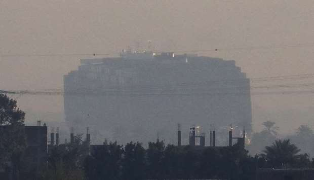 A view shows the container ship Ever Given, one of the world's largest container ships, in Suez Cana