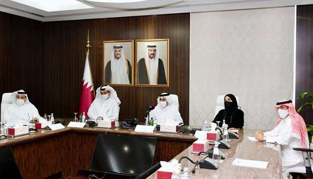 Qatar Chamber officials during a virtual general assembly meeting held on Wednesday.