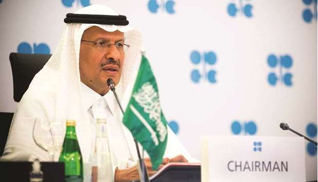 Saudi Arabia's Minister of Energy Prince Abdulaziz bin Salman al-Saud speaks via video link during a