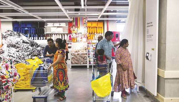 Customers inside the Ikea store in the Hitech City on the outskirts of Hyderabad (file). The furnitu