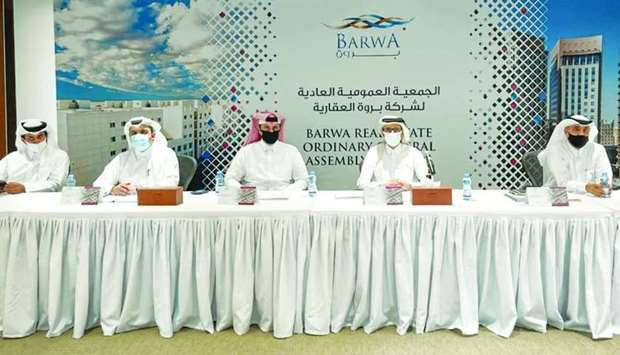 Barwa chairman Salah bin Ghanem al-Ali presiding over the Ordinary General Assembly Meeting