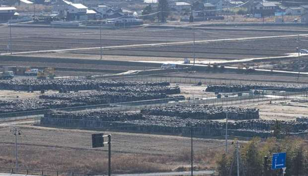 Contaminated soil in black bags in Naraha, Fukushima Prefecture, from an area declared a no-go zone