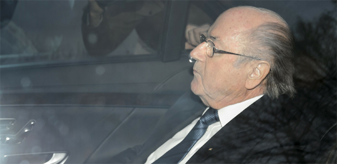 Suspended FIFA president Sepp Blatter arrives at the FIFA headquarters