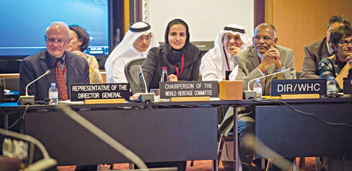 Qatar Museums chairperson HE Sheikha Al-Mayassa bint Hamad al-Thani attends a conference of the Worl