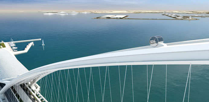 (File picture) View of a cable car system attached to the West Bay Bridge - architect's impression.