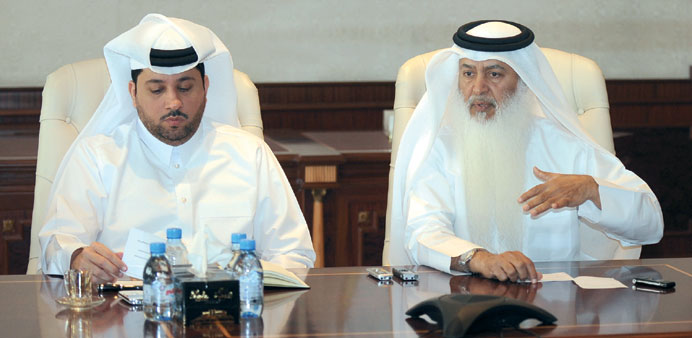Hassad Food Company chairman Nasser bin Mohamed al-Fahid al-Hajri, right, with CEO Fahad Abdullah Tu