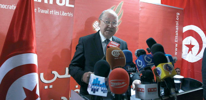 Assembly speaker Mustapha Ben speaks during a news conference in Tunis yesterday.