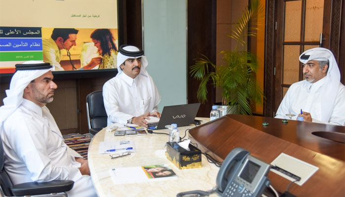 Minister of Public Health HE Abdullah bin Khalid al-Qahtani and SCH officials at the press conferenc