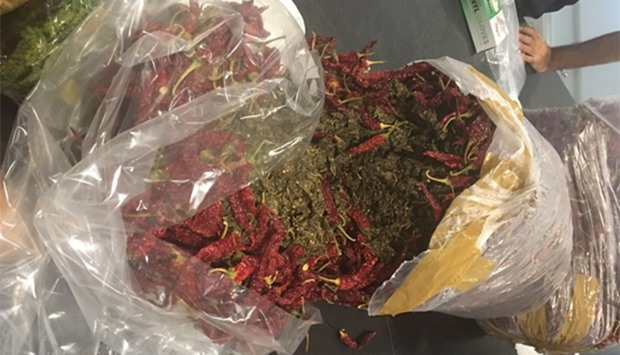 Marijuana was concealed in packets of dried red chillies.