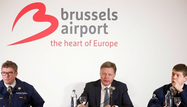 Federal Police spokesman Peter De Waele, Brussels Airport CEO Arnaud Feist and Federal Police spokes