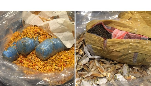 The illicit drug packets were hidden among dried fish and snacks.
