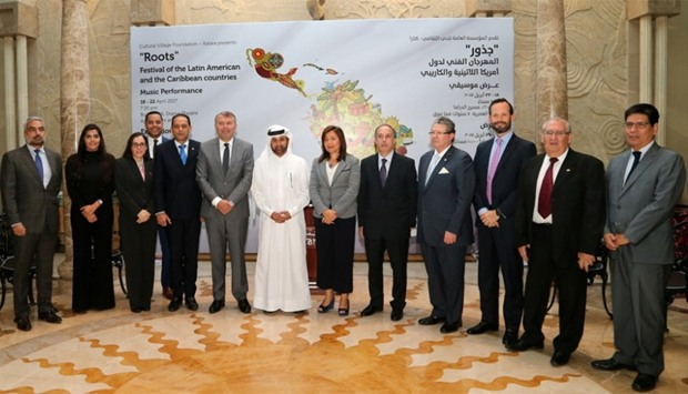 Diplomats from the Latin American and Caribbean countries with Katara's Dr al-Sulaiti after announci