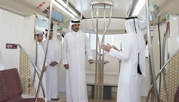 Emir Sheikh Tamim inspects the progress of Doha Metro