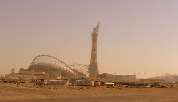A view of the Khalifa Stadium, Torch Tower and Aspire Zone when dust descended on Doha on Friday.