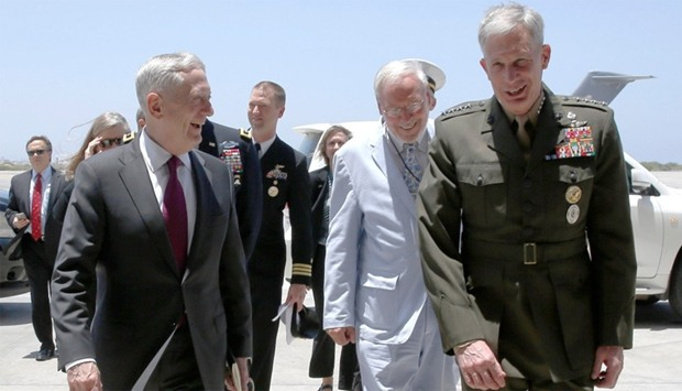 Mattis is greeted by Waldhauser as he arrives at Camp Lemonnier in Ambouli, Djibouti