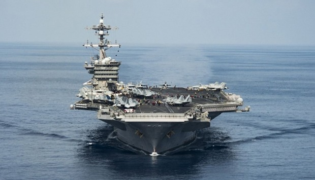 The aircraft carrier USS Carl Vinson on the South China Sea
