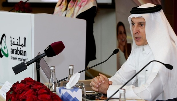 Qatar Airways Group chief executive Akbar al-Baker addressing the media at Arabian Travel Market in
