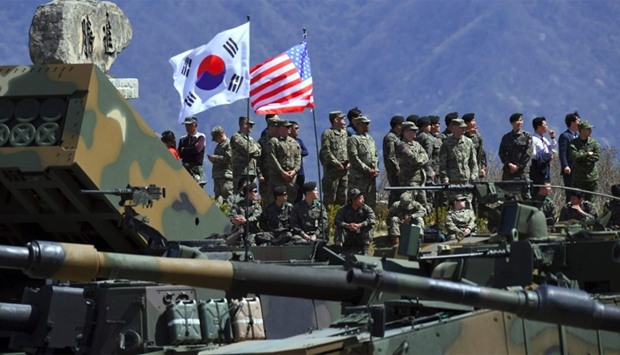 South Korea and US soldiers watch  a joint live firing drill