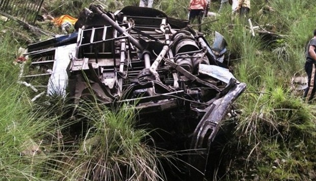 bus plunges into gorge