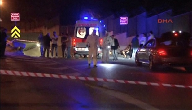 A view of the scene where GEM TV founder Saeed Karimian was shot dead in Istanbul