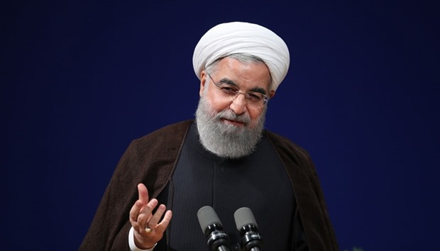 Iranian President Hassan Rouhani  speaking during a conference in Tehran