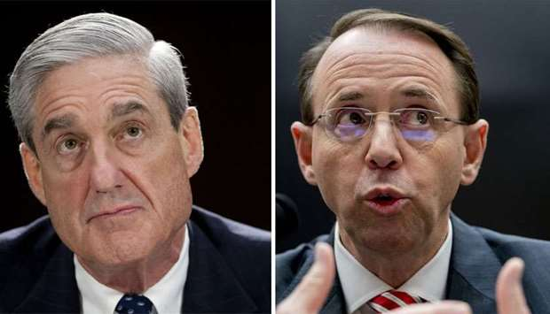 Special Counsel Robert Mueller (L), and Attorney General Rod Rosenstein