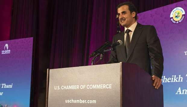 The Emir delivering a speech at the reception held by the US Qatar Business Council and the US Chamb