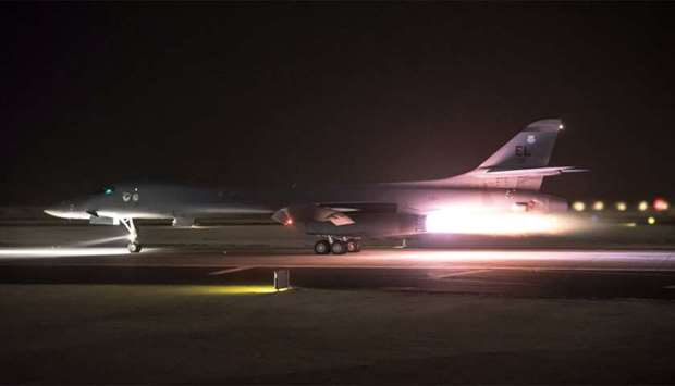 US Air Force Central Command photo of a U.S. Air Force B-1B Lancer in Doha