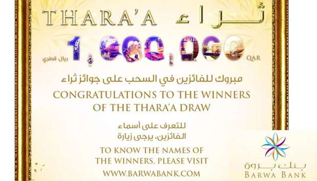 Barwa Bank April draw winners