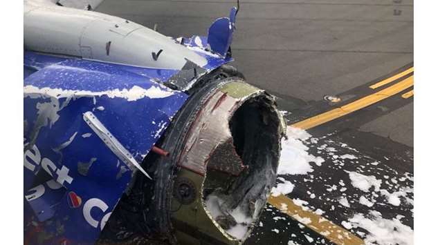 The engine of a Southwest Airlines plane after an emergency landing at Philadelphia