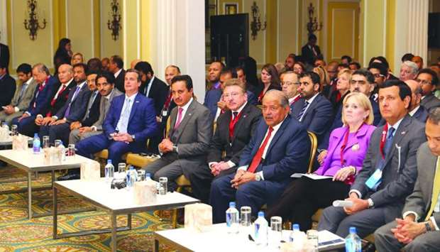 Sheikh Khalifa joins other dignitaries from Qatar during a forum held in Washington, DC.