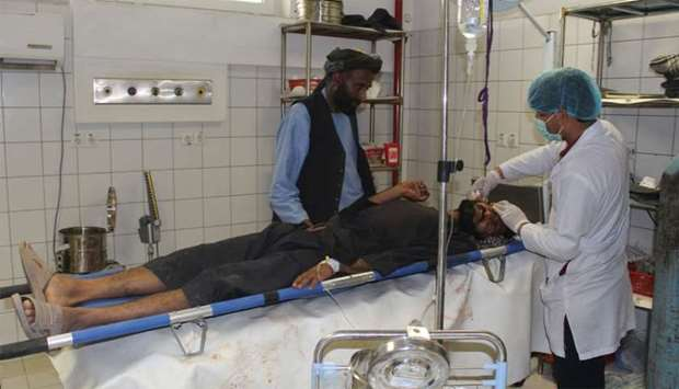 An Afghan resident is treated at a hospital following an airstrike in Kunduz