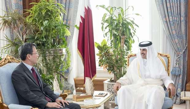 His Highness the Emir Sheikh Tamim bin Hamad al-Thani met yesterday at the Emiri Diwan with the outg
