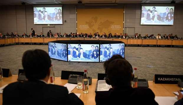 """Foreign Affairs ministers attend the """"No money for terror"""" conference on combating the financing of"""