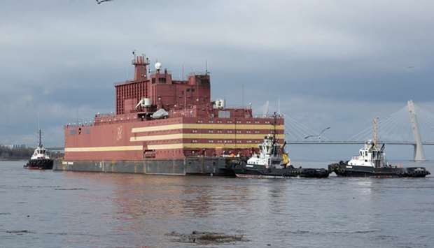 "The floating nuclear power plant ""Akademik Lomonosov"" is seen being towed to an Atomflot base in Mur"