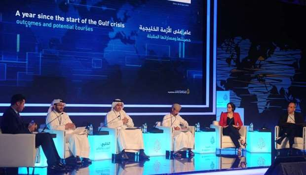 The panelists discussing Gulf Crisis at 12th Al Jazeera Forum.