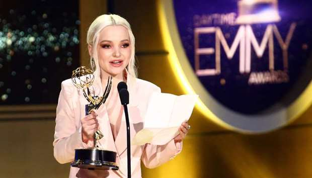 Dove Cameron on stage during the 45th Annual Daytime Creative Arts Emmy Awards