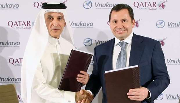 Akbar al-Baker with Vitaly Vantsev following the signing of the MoU between Qatar Airways Group and