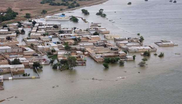 A view of the flooded village of Susangerd in Iran's Khuzestan province