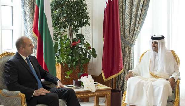 His Highness the Amir Sheikh Tamim bin Hamad al-Thani and Bulgarian President Rumen Radev hold talks