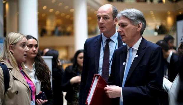 Britain's Chancellor of the Exchequer Philip Hammond arrives for a G-20 Finance Ministers and Centra