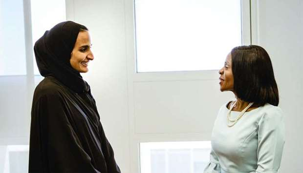 Sheikha Hind with the First Lady of Botswana