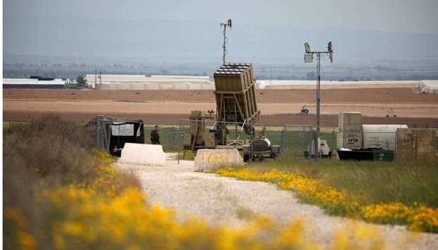 An Iron Dome rocket interceptor battery deployed near the southern Gaza Strip in southern Israel