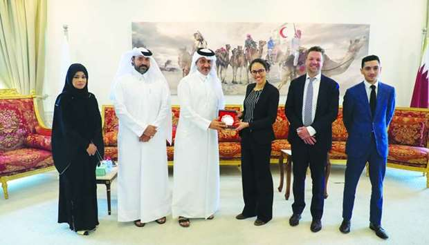 Qatar Red Crescent Society (QRCS) officials with a delegation from the Dutch Ministry of Foreign Aff