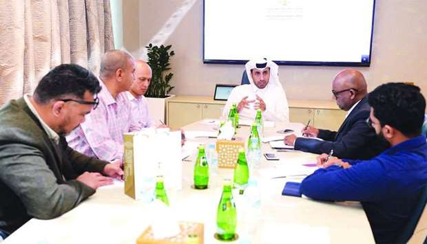 QICDRC CEO Faisal Rashid al-Sahouti speaking to reporters during media round-table on Monday. PICTUR