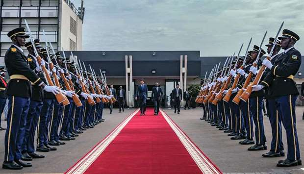 His Highness the Amir Sheikh Tamim bin Hamad al-Thani being accorded a ceremonial send-off at Kigali
