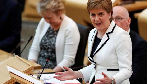 Scotland's First Minister Nicola Sturgeon speaks in the Scottish Parliament during continued Brexit
